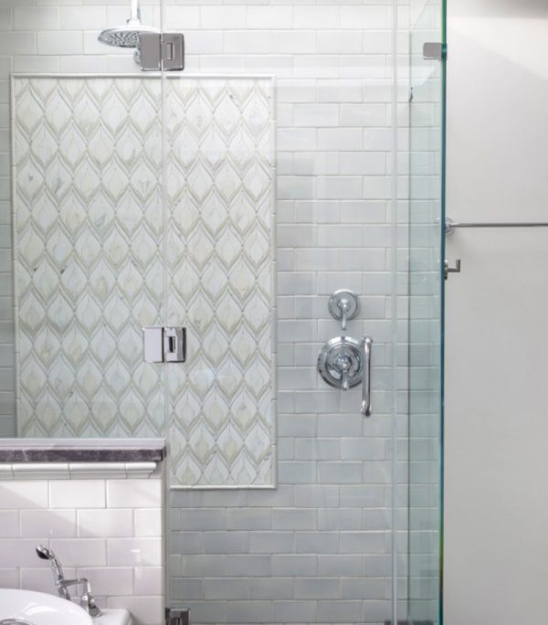 Plumage mosaic shower panel