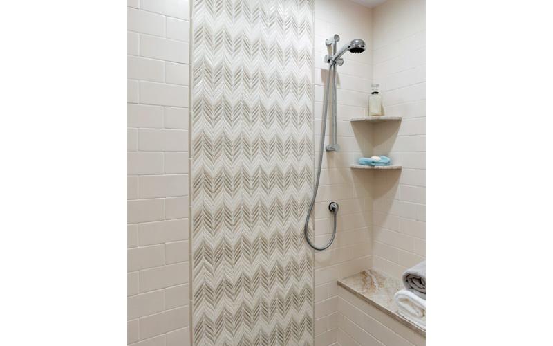 Feather shower backsplash – Encore Ceramics